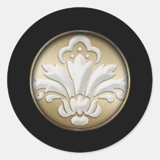 White Damask Gold Shimmer Black Border Postage Round Sticker