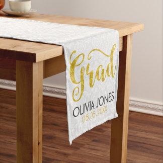 White Damask Gold Typography- Graduations Short Table Runner