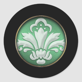 White Damask Green Shimmer Black Border Postage Round Sticker