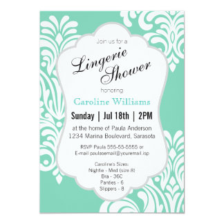White Damask Lingerie Shower Card