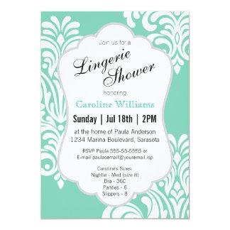 White Damask Lingerie Shower 13 Cm X 18 Cm Invitation Card