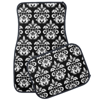 White damask on black car mat