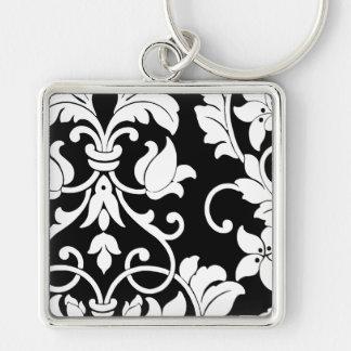 White Damask on Black Key Chain
