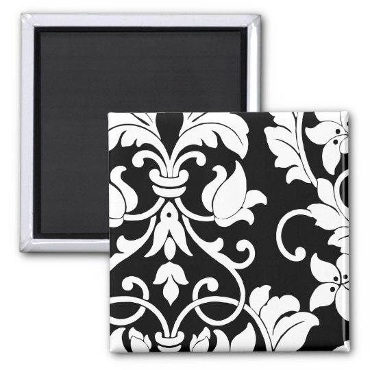 White Damask on Black Square Magnet