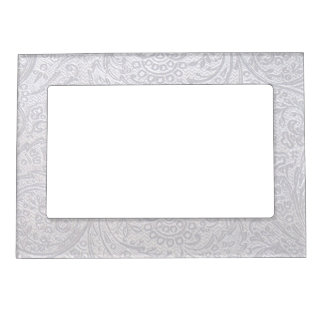 White Damask Picture Frame Magnets