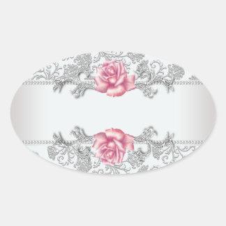 White Damask Pink Rose Envelope Seal Sticker Label