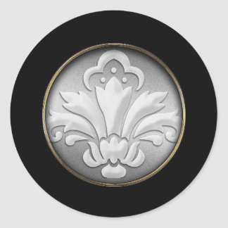 White Damask Silver Shimmer Black Border Postage Round Sticker