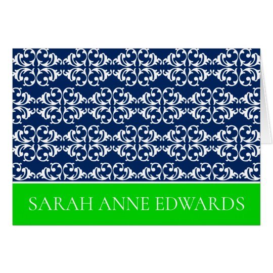 White Damask Stripes on Navy Blue With Green Card
