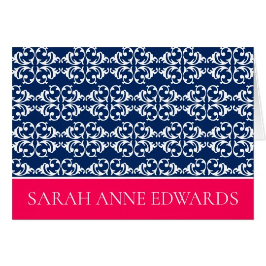 White Damask Stripes on Navy Blue With Pink Card