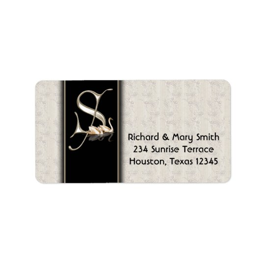 White Damask Swans Letter S Monogram Address Label