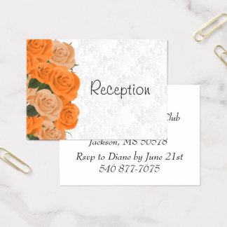 White Damask with Orange Roses - Reception Business Card