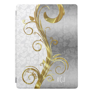 White Damasks Gold & Silver Swirls iPad Pro Cover