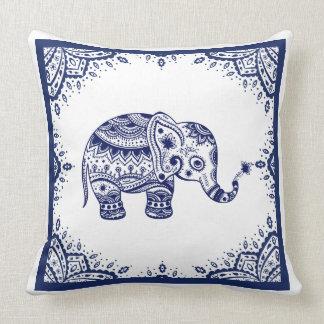 White & Dark Blue Floral Paisley & Elephant Throw Pillow
