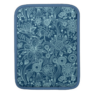White & Dark Blue Retro Floral Pattern Sleeves For iPads