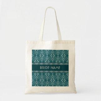 White & Dark Green Damask Pattern-Custom Monogram Tote Bag