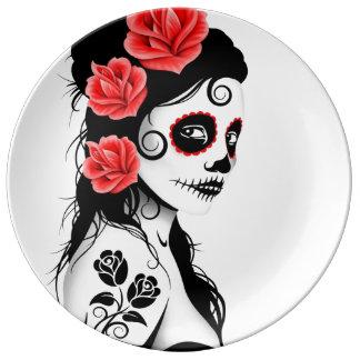 White Day of the Dead Sugar Skull Girl Porcelain Plate