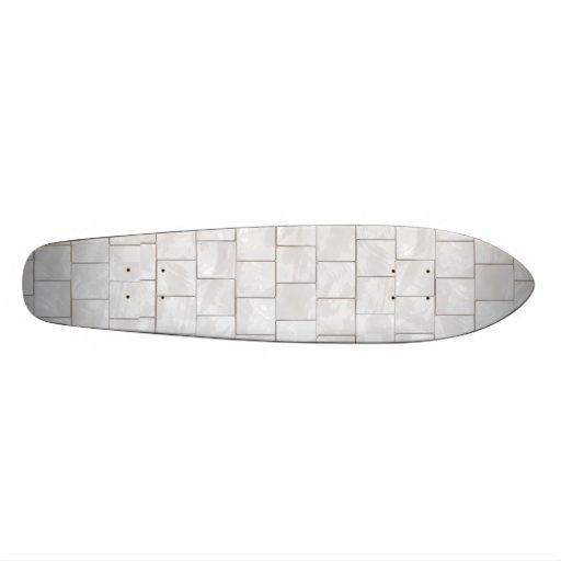 White Decorative Marble Tile Background Custom Skateboard