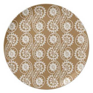 White Decorative Paisley Pattern On Brown Party Plate