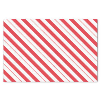 White & Deep Red Candy Cane Diagonal Stripes Tissue Paper