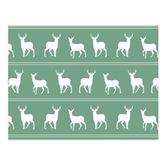 White Deer and Stag pattern on Acapulco Green Postcard