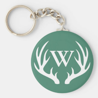 White Deer Antlers & Initial Letter Key Ring
