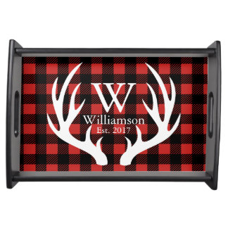 White Deer Antlers Rustic Buffalo Check Plaid Serving Tray
