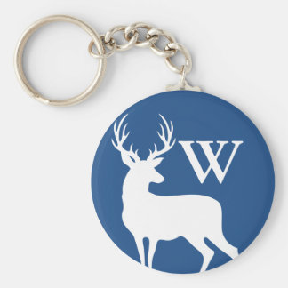 White Deer Buck Silhouette White Initial Letter Key Ring