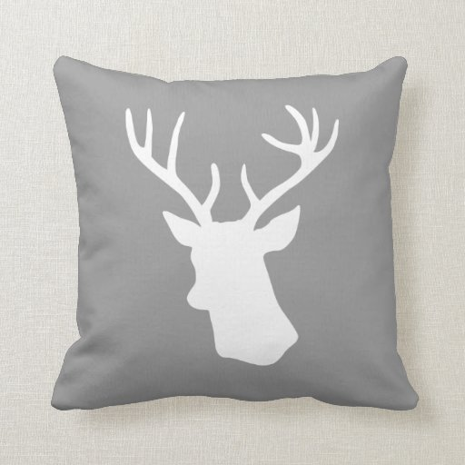 White Deer Head Silhouette - Gray Pillows