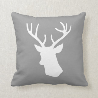 White Deer Head Silhouette - Gray Throw Pillow