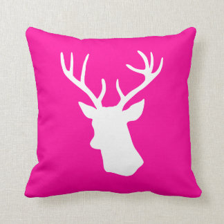 White Deer Head Silhouette - Hot Pink Throw Cushions