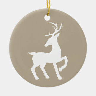 White Deer On Beige & Custom Text On The Back Ceramic Ornament