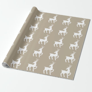 White Deer Silhouette Pattern On Beige Wrapping Paper