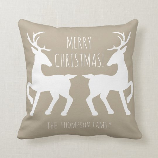 White Deers Facing Each Other Beige Christmas Cushion
