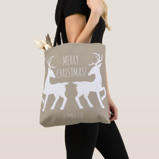 White Deers On Beige & Personalized Name Christmas Tote Bag