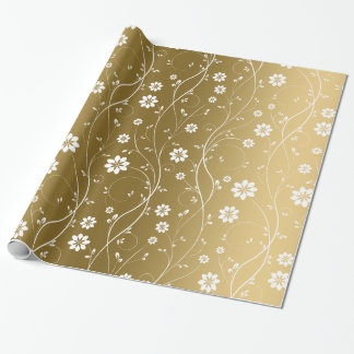 White Delicate Flowers On Gold Background Wrapping Paper