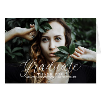White Delicate Script Photo Graduation Thank You Card