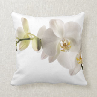 White Dendrobium Orchid Flower Spray Floral Cushion
