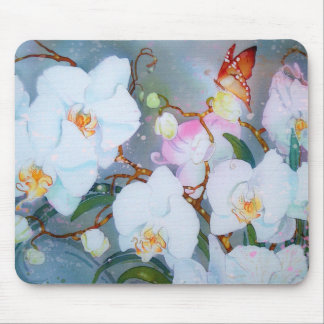 White Dendrobium Watercolor Orchid Tiger Butterfly Mouse Pad