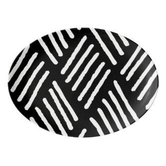 White Diagonal Lines | Any Color Background Porcelain Serving Platter