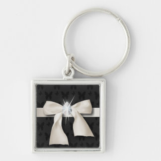 White Diamond Bow Sweet 16 Key Ring