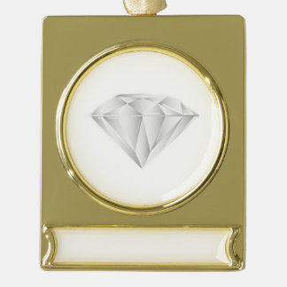 White Diamond for my sweetheart Gold Plated Banner Ornament