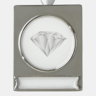 White Diamond for my sweetheart Silver Plated Banner Ornament