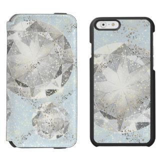 White Diamond on Light Pastel Blue Sparkle Incipio Watson™ iPhone 6 Wallet Case