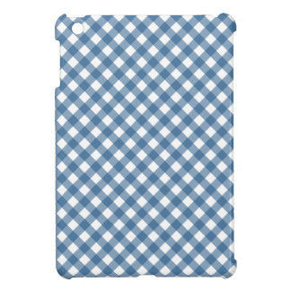 White Diamond Shapes in Classic Blue Gingham iPad Mini Cover