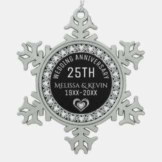 White Diamonds 25th Wedding Anniversary Template Snowflake Pewter Christmas Ornament