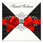 White Diamonds Black Red Sweet 16 Birthday Party Personalized Invitation