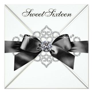 White Diamonds Black White Sweet 16 Birthday Party Card