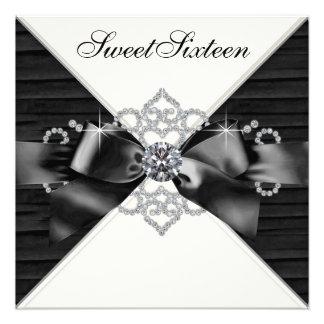 White Diamonds Black White Sweet 16 Birthday Party Personalized Invites