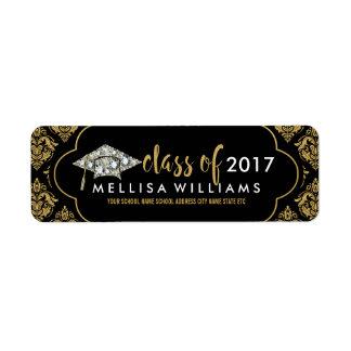 White Diamonds Class Of 2017 Black & Gold Damasks Return Address Label