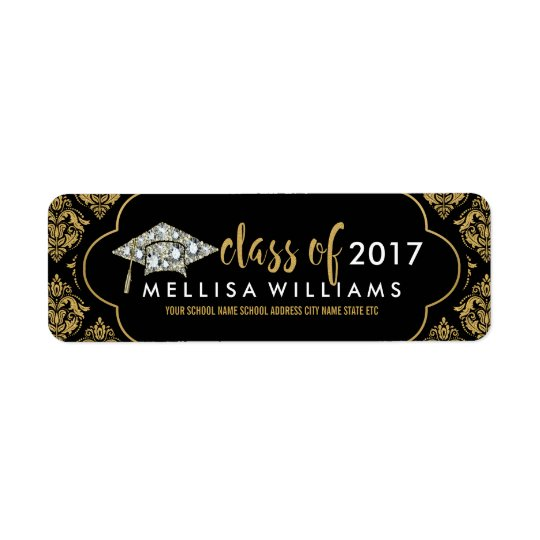 White Diamonds Class Of 2017 Black & Gold Damasks Return Address Label